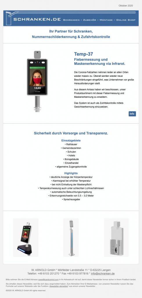Newsletter: TEMP-37 Fiebermessung und Maskenerkennung via Infrarot – 23.01.2020